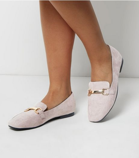 Wide Fit Grey Suedette Metal Bar Loafers | New Look