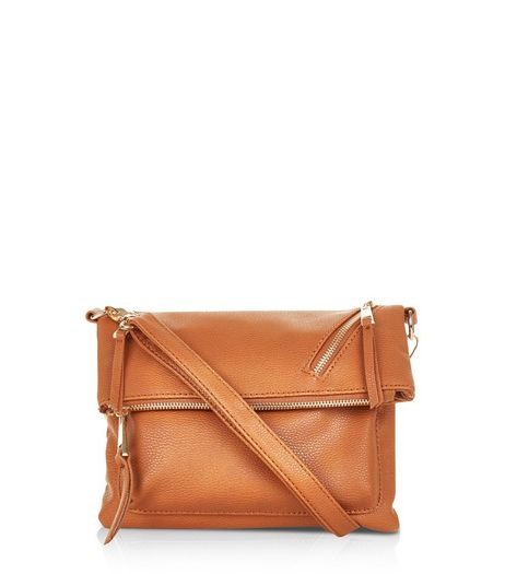Tan Zip Top Fold Over Cross Body Bag | New Look
