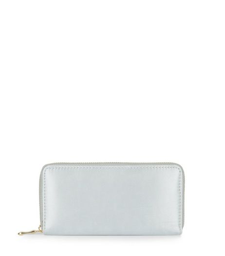 Silver Sateen Zip Around Purse | New Look