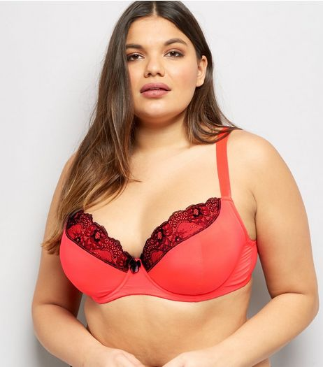 Curves Red Mesh And Lace Trim Bra | New Look