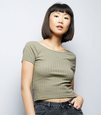 Olive Green Ribbed Short Sleeve Crop Top