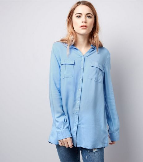 Blue Double Pocket Shirt | New Look