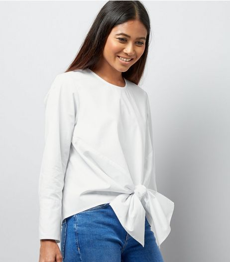 Petite White Tie Front Poplin Top | New Look