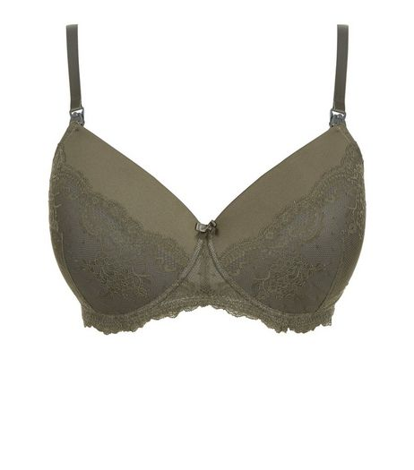 Maternity Khaki Lace Moulded Nursing Bra | New Look
