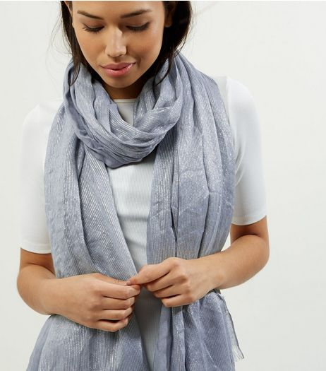Grey Metallic Longline Scarf  | New Look