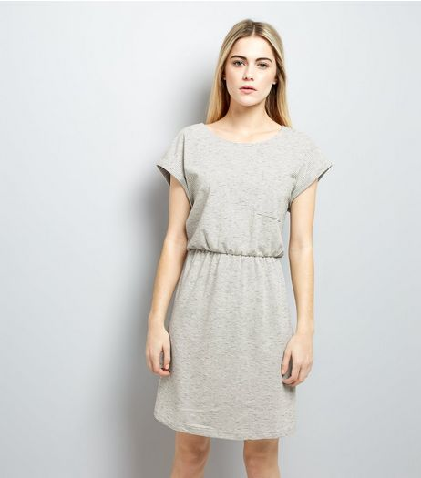 Light Grey Belted T-Shirt Dress  | New Look