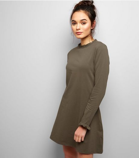 Khaki Frill Trim Swing Dress | New Look