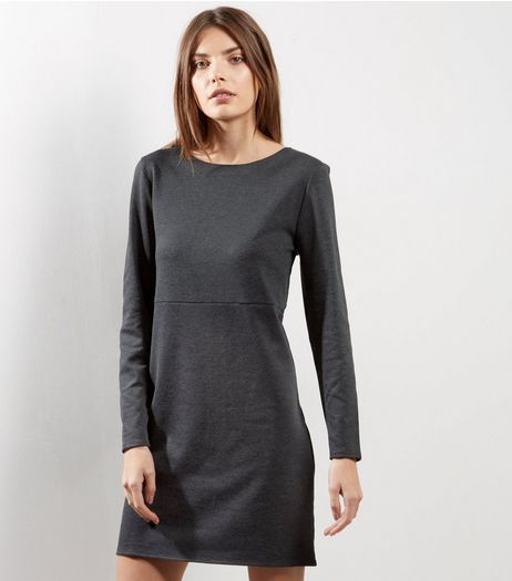 Grey Long Sleeve Shift Dress | New Look