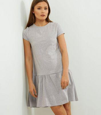 Grey Drop Waist Peplum Hem Short Sleeve Dress