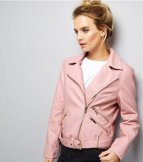 Petite Pink Leather-Look Biker Jacket | New Look