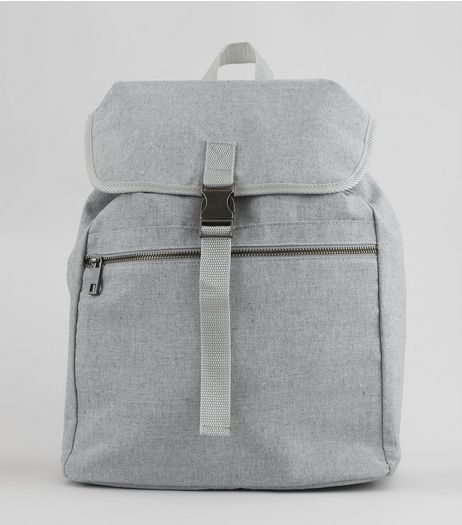 Pale Grey Buckle Front Backpack | New Look