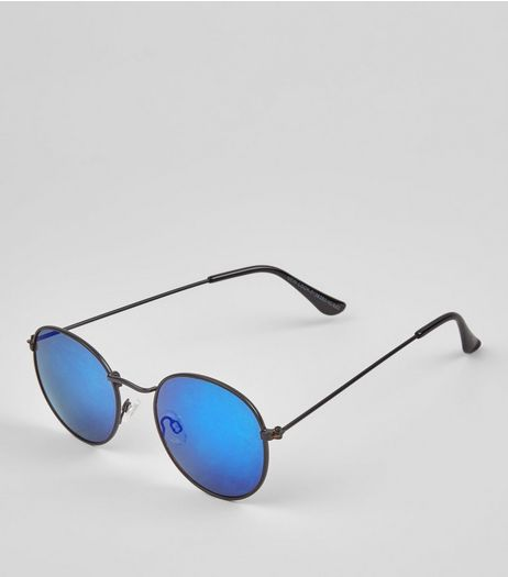 Blue Round Tinted Sunglasses | New Look