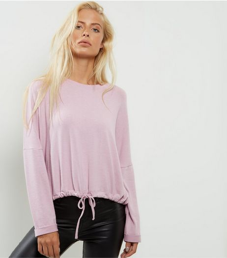 Pink Brushed Drawstring Hem Top | New Look