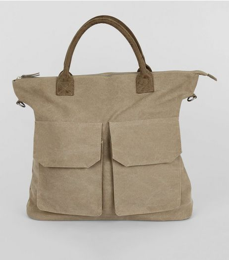 Stone Twill Tote Bag | New Look