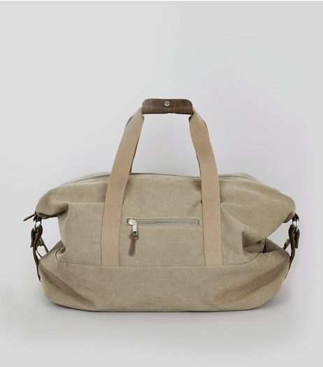 Stone Twill Holdall | New Look