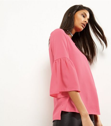 Pink Bell Sleeve Step Hem Top | New Look