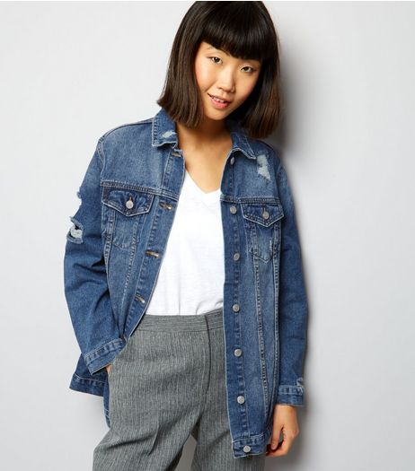 Blue Denim Ripped Longline Jacket  | New Look