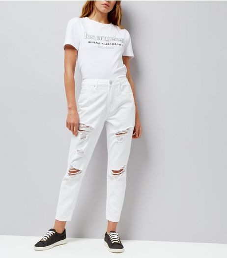 White Ripped Tori Mom Jeans | New Look