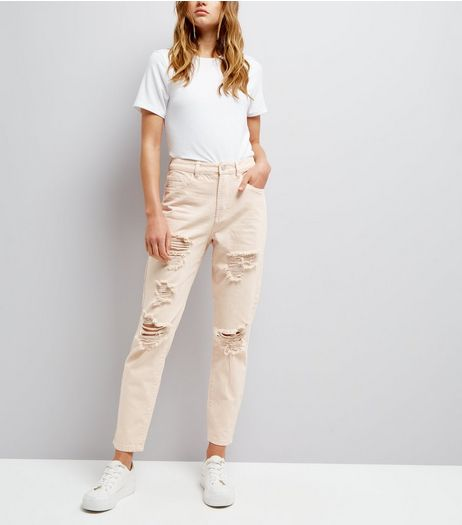 Shell Pink Ripped Tori Mom Jeans  | New Look
