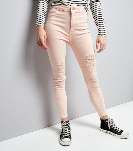 Shell Pink Ripped High Waist Skinny Hallie Jeans | New Look