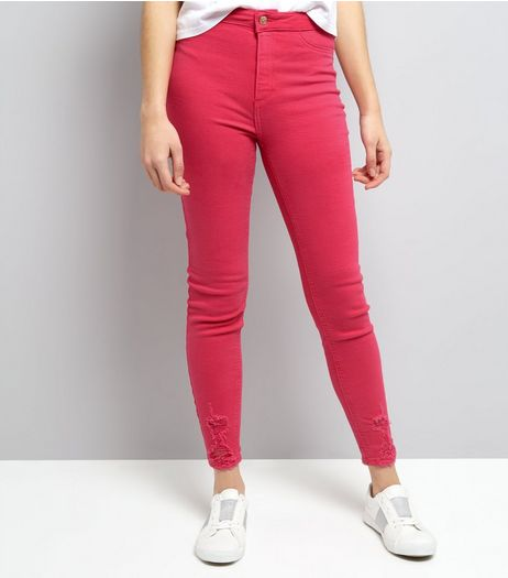 Bright Pink Ripped High Waist Skinny Hallie Jeans  | New Look