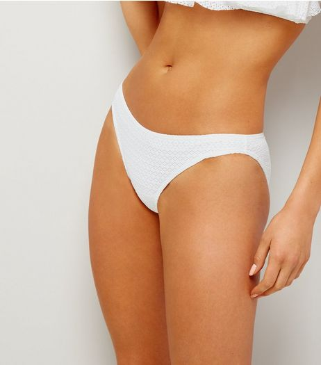 White Crochet Lace Bikini Bottoms | New Look