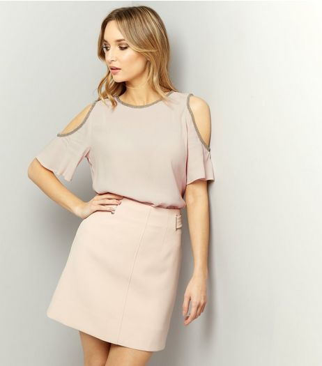 Shell Pink Embellished Trim Cold Shoulder Top  | New Look