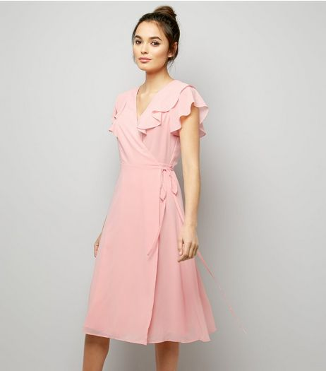 Pink V Neck Lattice Back Midi Bridesmaid Dress | New Look