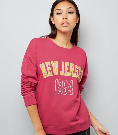 Pink New Jersey 1984 Print Sweater | New Look