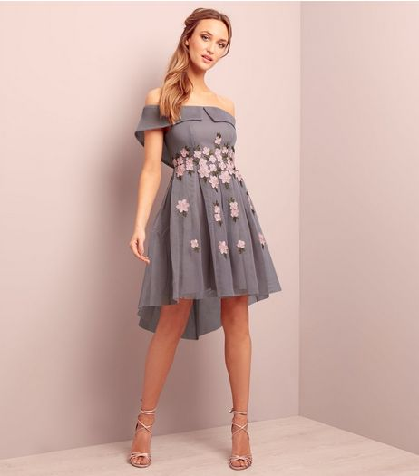 Grey Premium Bardot Neck Floral Embroidered Mesh Dress | New Look