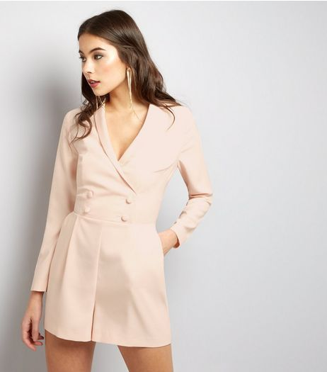 Shell Pink Satin Tuxedo Playsuit  | New Look