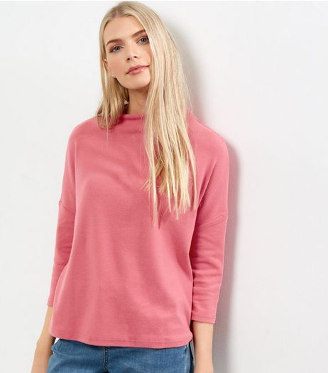 Bright Pink Brushed Funnel Neck 3/4 Sleeve T-Shirt  | New Look