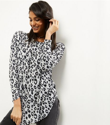 QED Light Grey Animal Print Long Sleeve Top  | New Look