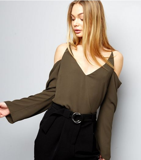 Khaki Chain Strap Cold Shoulder Top | New Look