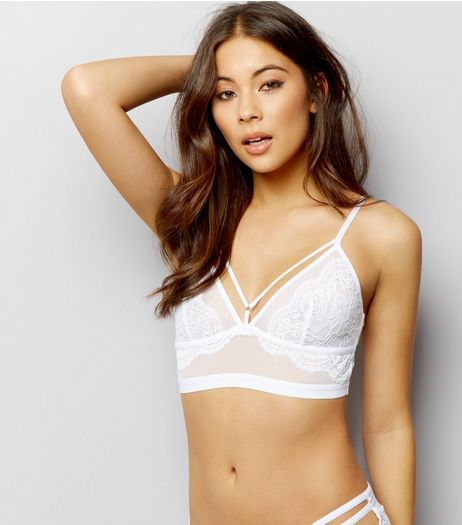White Mesh And Lace Longline Multi Strap Bralet | New Look