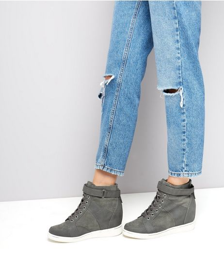 Grey Ankle Strap Wedge Trainers | New Look