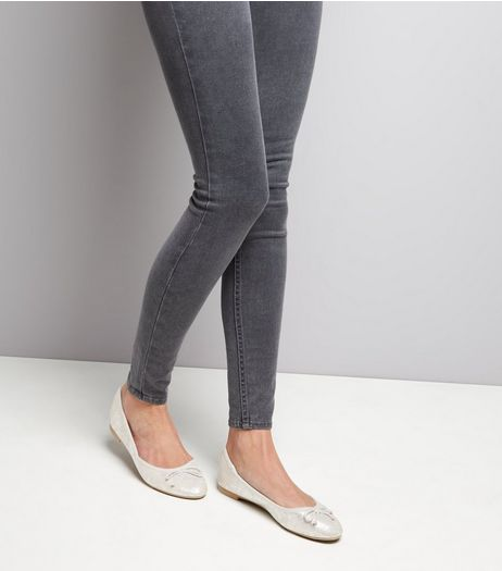 Silver Snakeskin Textured Ballet Pumps | New Look