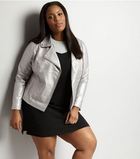 Curves Silver Metallic Biker Jacket | New Look