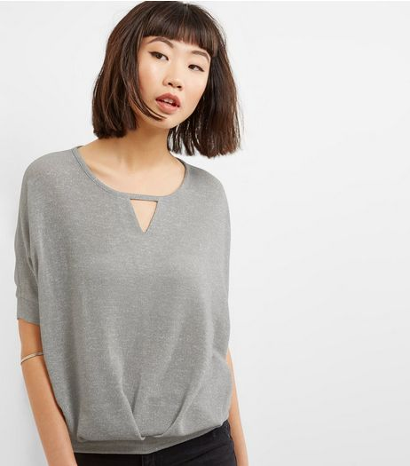 Blue Vanilla Grey Glitter Pleated Top | New Look