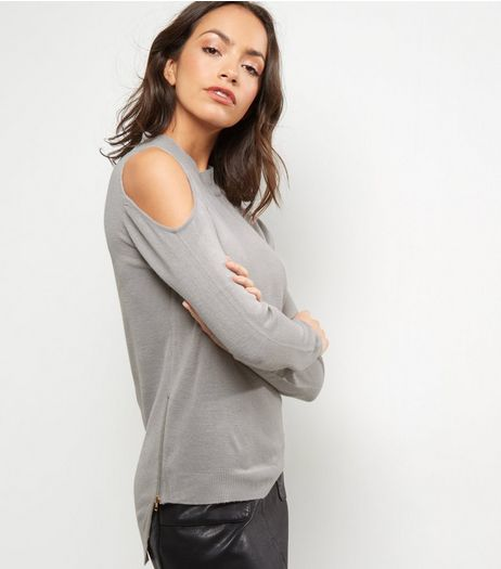 Blue Vanilla Grey Cold Shoulder Zip Side Jumper | New Look