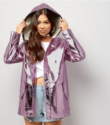 Pink Metallic Hooded Anorak  | New Look