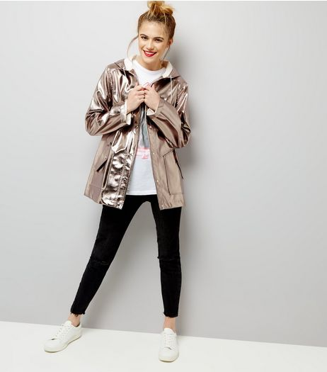 Silver Metallic Leather-Look Anorak  | New Look