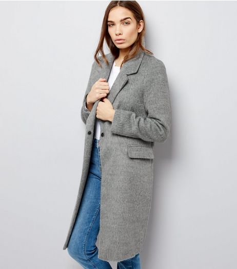 Grey Brushed Button Front Coat  | New Look