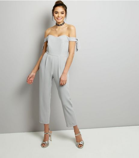 Grey Bardot Neck Tie Sleeve Jumpsuit | New Look