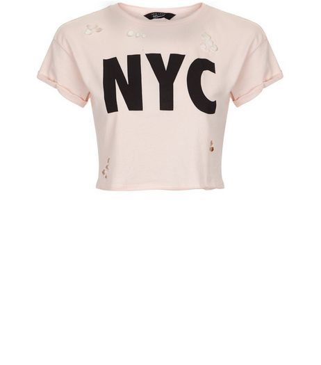 Teens Pink NYC Ripped Crop Top  | New Look