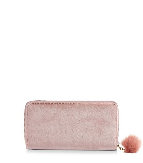 Nude Pink Velvet Pom Pom Zip Purse | New Look