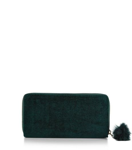 Dark Green Velvet Pom Pom Zip Purse | New Look