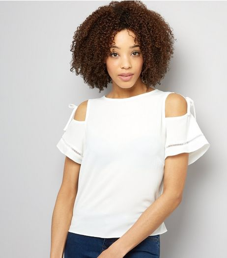 White Tie Up Cold Shoulder Top  | New Look