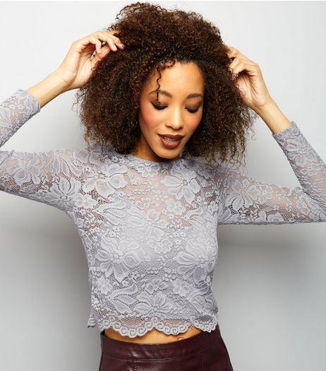 Grey Floral Lace Long Sleeve Crop Top  | New Look
