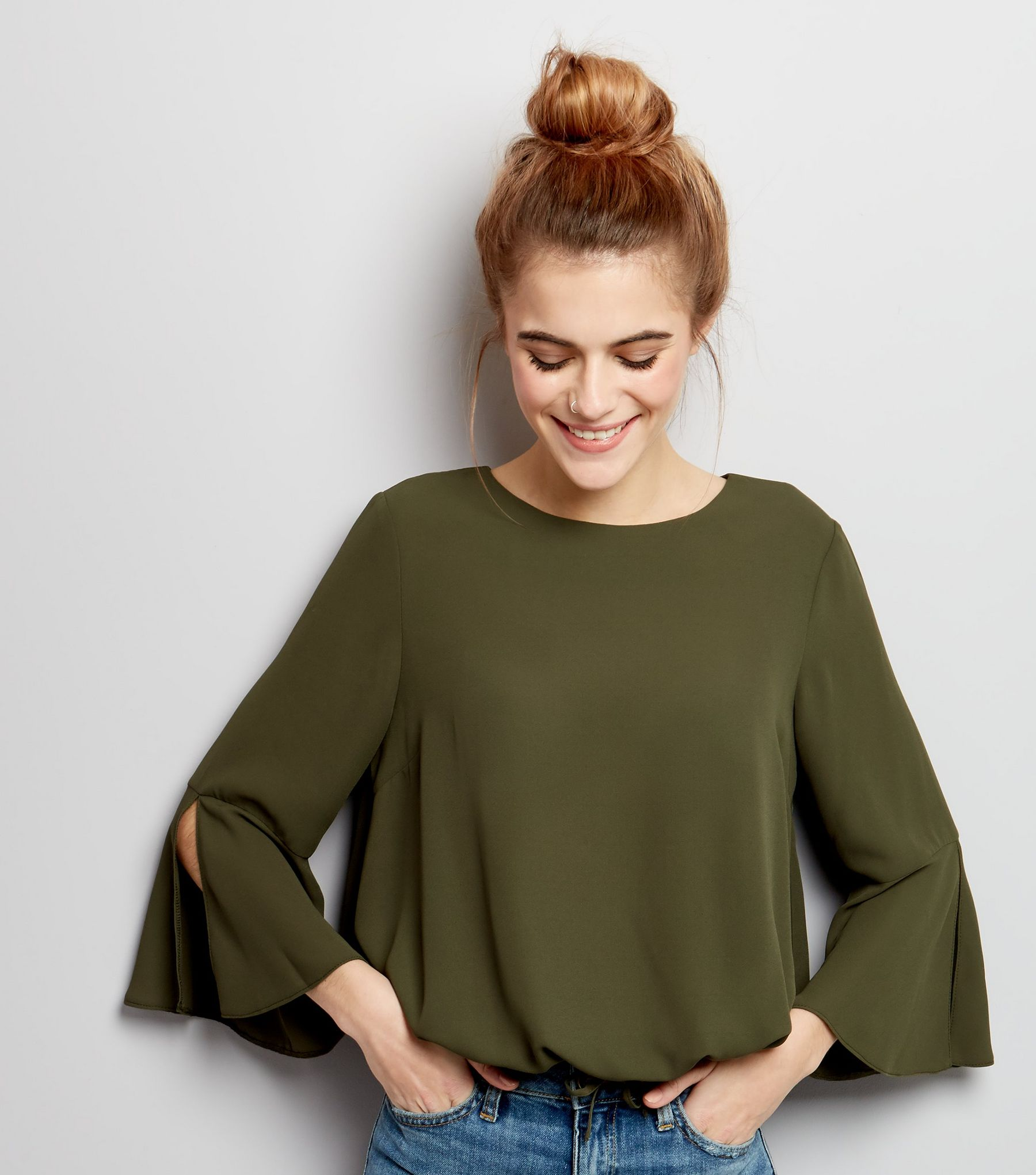 Khaki Drawstring Hem Bell Sleeve Top  | New Look